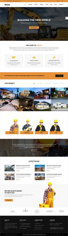 Vicin is clean and modern deisgn 4in1 responsive #bootstrap template for #construction, roofing, #building and plumbing services website download now..