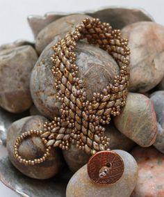 Classy Peyote Superduo Bracelet; Bead Weaving; Peyote Stitch; Topaz Bead Bracelet; Superduo Bracelet; Seed Bead Bracelet; Cuff Bracelet