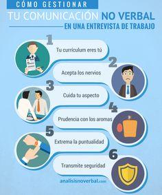 Cómo gestionar tu comunicación no verbal en una entrevista de trabajo #infografía