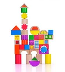 Block It!  Build, stack, construct and create with our 40 piece colorful wood block set. Perfectly oversized for small hands so your child is able to build confidence in construction play. The set's unique shapes and structural details offer budding architects plenty of open-ended building possibilities all the way to primary school! Includes storage bucket.  2 - 5 years