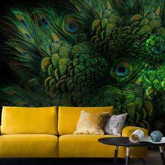 #PeacockEyes #amazing #green #Divas Yellow Sofa, Diva Design, Green Leaves, Divas, Seattle, Living Room, Wallpaper, Amazing, Interior