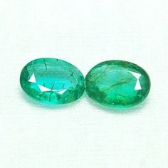 1.33Ct/2Pcs~Gorgeous Earring Size Natural Zambian Emerald Peacock Green Gems