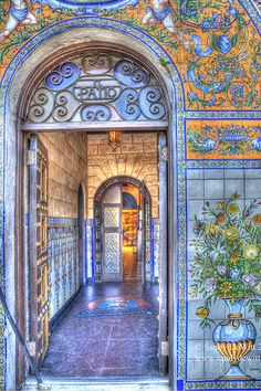 Arched entryway to the Columbia Restaurant in Ybor City, Tampa, Florida… love the tiled murals everywhere.
