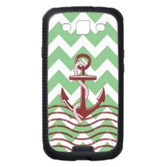 Nautical Ship Anchor Mint Chevron Pattern Galaxy SIII Cases