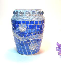 Stained Glass Mosaic Vase Blue @threesisterscandles $30.00