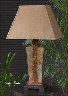 Slate Stone Rustic Accent Lamp