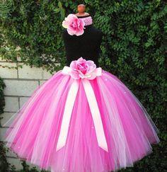 "Pink Tutu - Strawberry Dreams - Custom SEWN Pink Tutu - up to 20"" long - sizes up to 5T - Tutu for girls - Photo props, birthdays, weddings. $58.00, via Etsy."