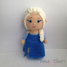 Ravelry: Elsa Amigurumi pattern by Yazmina Nieblas Crochet Teddy, Crochet Art, Crochet Toys, Crochet Dolls Free Patterns, Doll Patterns, Frozen Crochet, Crochet Doll Tutorial, Amigurumi Doll, Batman Amigurumi