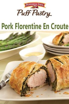 Pork Florentine En Croute Recipe. This dish makes a lovely dinner, and you'd never know it was so simple and easy to prepare. Boneless pork tenderloin is wrapped in spinach and Puff Pastry resulting in an elegant and delicious dinner. Serve with roasted asparagus and a simple salad.