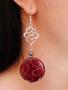 Earrings burgundy wine silver flower chandelier by HanDesign1987