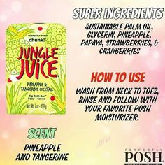 Jungle Juice Chunk is a Big Bath Bar that is extra big, with hydrating pineapple and tangerine for brighter, smoother skin. CLICK TO SEE MORE! #bath #posh #perfectlyposh #chunk #soap #clean #moisturizing #pineapple #tangerine #palmoil #papaya #strawberry #cranberry