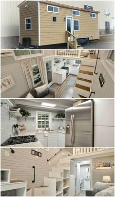 Tiny House Loft, Best Tiny House, Tiny House Trailer, Modern Tiny House, Tiny House Living, Small House Design, Tiny House On Wheels, Small House Plans, Casas Containers