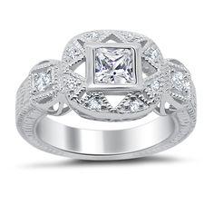 1 Carat Princess Deco Engagement Ring