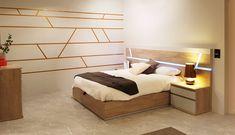 Dormitorio completo de la nueva colección Esenzia 3.0 - Ideal para ti, con cama canapé para obtener más espacio y capacidad de almacenaje