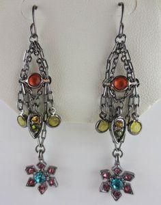 MACYS Multi Color Rhinestone Flower Chain Earrings NW in Leatherette Jewelry Box #Macys #Dangling