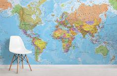 Political World Map Wallpaper Mural political-map-room Globe Wallpaper, World Map Wallpaper, Wall Wallpaper, World Map Mural, Feature Wall Design, Wall Maps, Wall Mural, Boho Bedding, Luxury Bedding