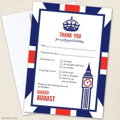 Union Jack  thank you cards - Professionally printed - Printable file also available on Etsy, $30.00