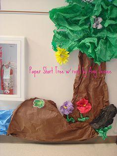 Paper tree  plastic pipe with hangers plus paper equals plum tree