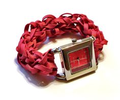 Red Watch Made with Rubber Bands  Unique Birthday by BungleBands, $14.99