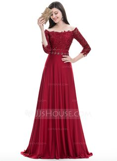 A-Line/Princess Off-the-Shoulder Sweep Train Jersey Evening Dress With Beading Sequins (017105884) - JJsHouse