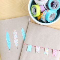 Decorate your own plain notebooks with some washi tape cut outs and shapes. Learn how on the blog (vanilla craft blog)