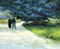Vincent van Gogh (Dutch, Post-Impressionism, Public Garden with Couple and Blue Fir Tree (The Poet's Garden III), Created in Arles, France. Rembrandt, Vincent Van Gogh, Art Van, Claude Monet, Van Gogh Arte, Van Gogh Pinturas, Georges Seurat, Van Gogh Paintings, Dutch Painters