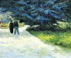 """""""Public garden with couple and blue fir tree"""" (1888) huile sur toile de Vincent van Gogh (1853-1890) peintre et dessinateur néerlandais."""