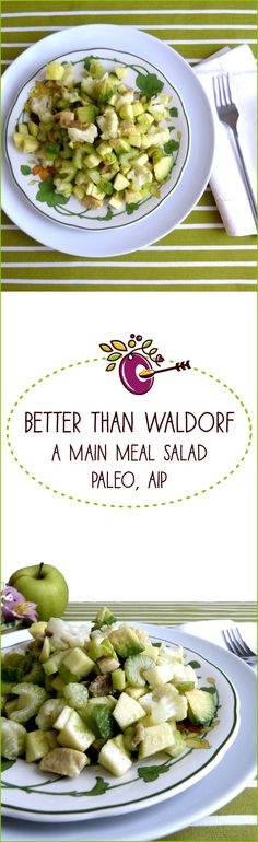 Waldorf Salad - who doesn't love it? This Paleo AIP version adds bacon, avocado, cauliflower florets and chicken breast to the classic apple and celery base, making it into a complete main meal. Crisp and crunch, sweet and tart, nutty and creamy, all at the same time. Perfect for your Whole 30 lunch! Click through and follow!