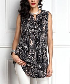 Love this Gray Paisley Notch Neck Pin Tuck Sleeveless Tunic on #zulily! #zulilyfinds