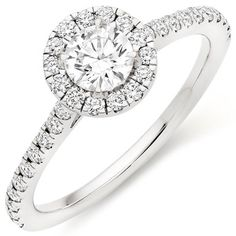 18ct White Gold Diamond Halo Ring. See more at http://www.weddingheart.co.uk/beaverbrooks-engagement-ring.html or click on image to visit shop direct and view current prices.  #EngagementRing #EngagementRings #Engagement #Diamond #Ring #Rings #WhiteGold #18ct #Gold #FineJewellery #Cluser