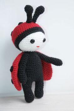 Doll in ladybug costume - free amigurumi pattern