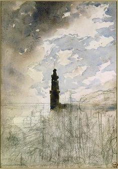 moniledebeaute:  Gustave Moreau, Phare, Crayon noir, aquarelle, n. d. Source