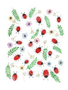 Les cocinelles aquarelle originale de format 24x 32 cm couleur rouge et verte avec motif florale