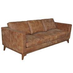 Filmore 89-inch Tan Leather Sofa