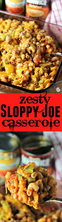"""Zesty Sloppy Joe Casserole is a quick and easy dinner idea perfect for the cooler weather! It comes together in less than 30 minutes for a meal the whole family will love in a """"not so sloppy"""" presentation with the help of RO*TEL and MANWICH"""