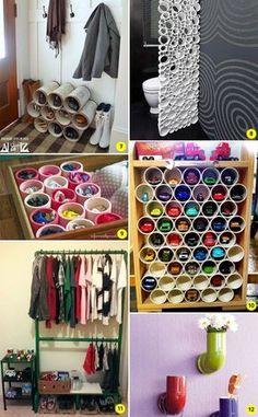 DIY: 24 ideias para decorar e organizar a casa usando canos de PVC - Casinha Arrumada
