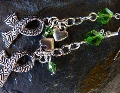 Charity Scarf Charm Earrings in Silver & Peridot