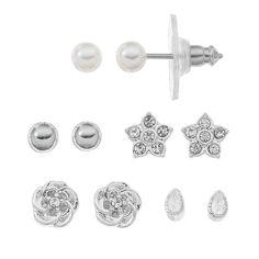 LC Lauren Conrad Star & Flower Stud Earring Set, Women's, Silver