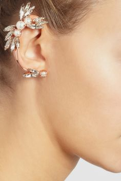 Ryan Storer|Rose gold-plated, Swarovski crystal and pearl ear cuff|NET-A-PORTER.COM