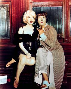 """With costar Tony Curtis on the set of """"Some Like It Hot"""", 1958."""