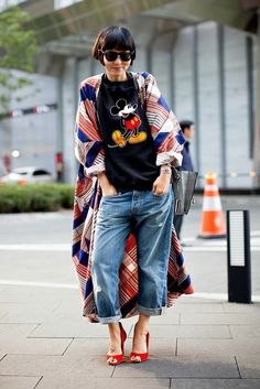 Cute Japanese street style. mickey mouse tee baggy jeans heels plaid print kimono duster