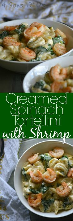 A dish of creamy warm comfort food, thisCreamed Spinach Tortellini with Seasoned Shrimp is the perfect thing for a hearty Winter meal. Cheese tortellini and fresh spinach are stirred into a triple cheese blended cream sauce, and served topped with seasoned shrimp for maximum cold weather comfort in one simple dish