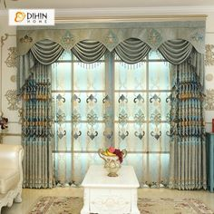DIHIN HOME Green Embroidered Luxurious Valance ,Blackout Curtains Grommet Window Curtain for Living Room Panel Net Curtains, Curtains For Sale, Grommet Curtains, Blackout Curtains, Window Curtains, Blue Curtains Living Room, Navy Blue Curtains, Valance Patterns, Beautiful Curtains