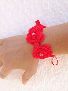 Red crochet  flowered  Bracelet with satin by ArtofAccessory, $15.00