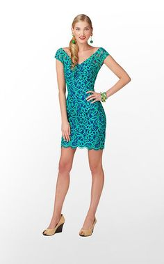Rosaline Dress in Bomber Blue About Face Lace $278 (w/o 10/27/12) #lillypulitzer #fashion #style