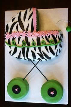 Cute baby carriage cake for your baby shower held at PowerPlay! Corporate Venue Kansas City   www.partysuppliesnow.com.au