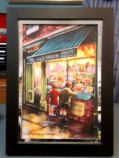 ' The Sweet Shop ' by E. Anthony Orme  Nostalgic Street Scene Fine Art Print by E Anthony Orme -  Based on the artist's childhood memories of the 1950s and 1960s. https://www.eanthonyorme.com/shop/the-sweet-shop.html 15%discount across the website:  code : WINNER Select your art print in colour or black and white. Choose a frame and mount (mat) to suit your house decor and have your art delivered to your door or click and collect from the E Anthony Orme Gallery and Picture Framers at 284…