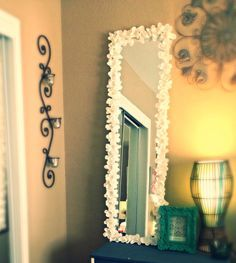 DIY home decor easy steps - Straight forward styling suggestions and examples to create a fab looking room. diy home decor ideas dollar stores candle holders example reference presented on 20190314 Diy Room Decor, Bedroom Decor, Bedroom Ideas, Do It Yourself Baby, Flower Mirror, Plans Architecture, Diy Mirror, Decorate Mirror, White Mirror