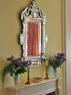 This Venetian glass mirror is antique and dates back to the late 1800s. Design ideas for a traditional living room in Miami. ➤ Discover the season's newest designs and inspirations. Visit us at http://www.wallmirrors.eu #wallmirrors #wallmirrorideas #uniquemirrors @WallMirrorsBlog