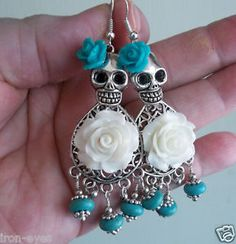 day of the dead wedding   Day of The Dead Frida Turquoise Voo Doo White Wedding Sugar Skull Bead ...
